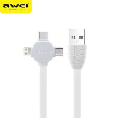 Cavo AWEI CL82 3w1 MicroUSB+Ipho+Tipo C bianco