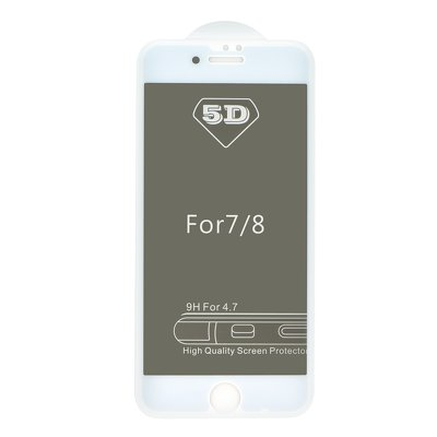 5D Full Glue Tempered Glass - APP IPHO 7 Plus / 8 Plus Privacy bianco