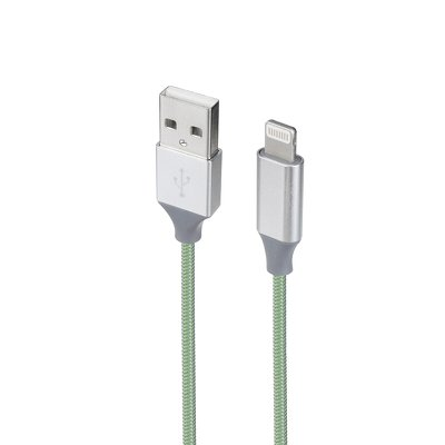 Cavo metallico USB NUOVO adatto per Apple, Iphone, Ipad Lightning Green