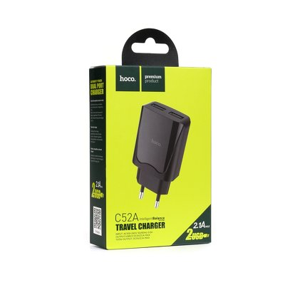 Caricabatterie HOCO 2x USB C52A 2.1A, nero