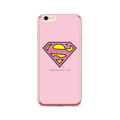 Case with licence IPHO 6 / 6S Superman ELECTO-GLITTER rosegold (009)